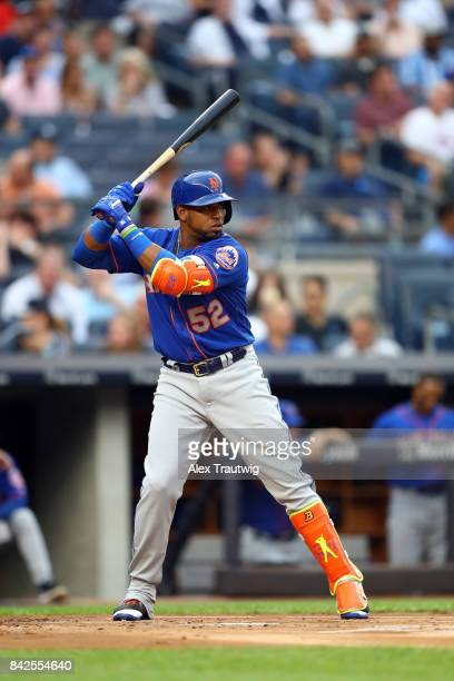 Yoenis Cespedes of the New York Mets bats during the game against the New York Yankees at Yankee Stadium on Monday August 14 2017 in the Bronx...