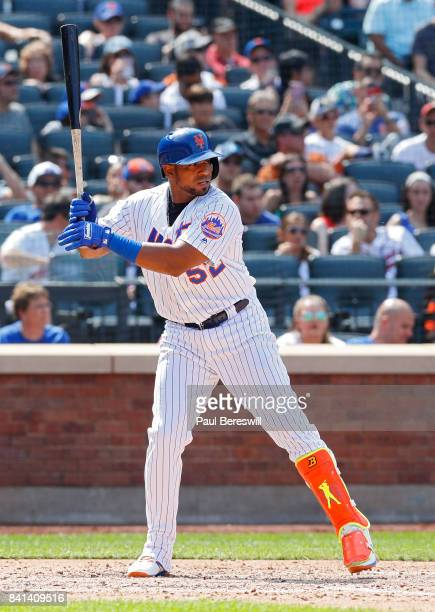 Yoenis Cespedes of the New York Mets bats in an MLB baseball game against the Miami Marlins on August 20 2017 at CitiField in the Queens borough of...