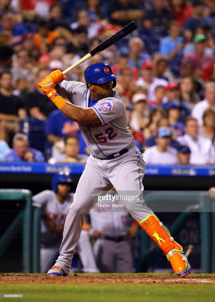 Yoenis Cespedes #52 of the New York Mets bats in the sixth inning during a game against the Philadelphia Phillies at Citizens Bank Park on August 12, 2017 in Philadelphia, Pennsylvania. The Phillies won 3-1.