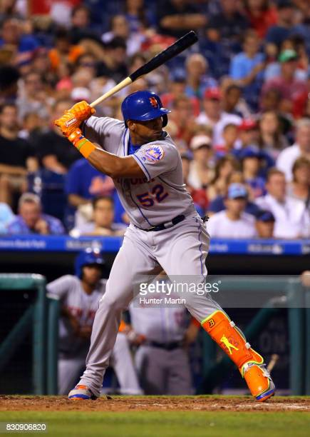 Yoenis Cespedes of the New York Mets bats in the sixth inning during a game against the Philadelphia Phillies at Citizens Bank Park on August 12 2017...