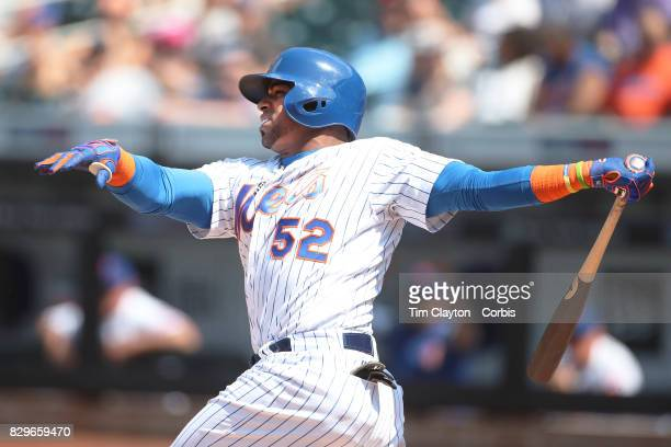 Yoenis Cespedes of the New York Mets batting during the Texas Rangers Vs New York Mets regular season MLB game at Citi Field on August 9 2017 in New...