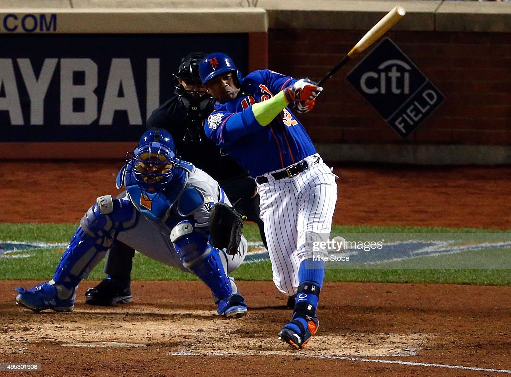 <a gi-track='captionPersonalityLinkClicked' href=/galleries/search?phrase=Yoenis+Cespedes&family=editorial&specificpeople=8892047 ng-click='$event.stopPropagation()'>Yoenis Cespedes</a> #52 of the New York Mets fouls the ball off of his leg in the sixth inning against the Kansas City Royals during Game Five of the 2015 World Series at Citi Field on November 1, 2015 in the Flushing neighborhood of the Queens borough of New York City.