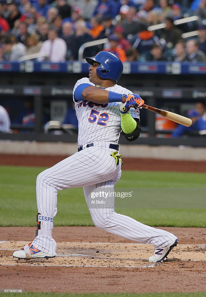 Yoenis Cespedes #52 of the New York Mets hits a home run in the first inning against Mike Foltynewicz #26 of the Atlanta Braves during their game at Citi Field on May 2, 2016 in New York City.