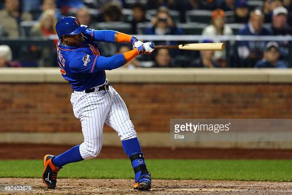 Yoenis Cespedes of the New York Mets hits a three run home run against Alex Wood of the Los Angeles Dodgers in the fourth inning during game three of...