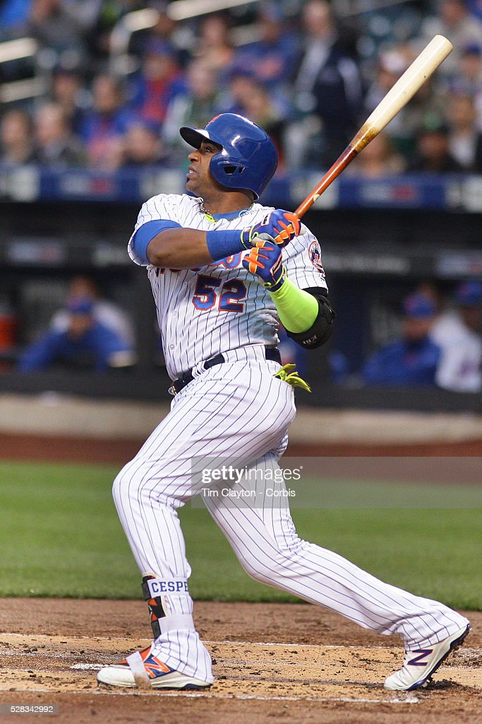 Yoenis Cespedes #52 of the New York Mets hits a two run home run in the first inning off Mike Foltynewicz #26 of the Atlanta Braves during the Atlanta Braves Vs New York Mets MLB regular season game at Citi Field on May 02, 2016 in New York City.