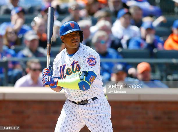 Yoenis Cespedes of the New York Mets in action against the Atlanta Braves during Opening Day at Citi Field on April 3 2017 in the Flushing...