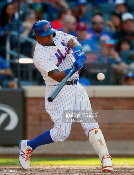 Yoenis Cespedes of the New York Mets in action against the Los Angeles Dodgers at Citi Field on August 5 2017 in the Flushing neighborhood of the...
