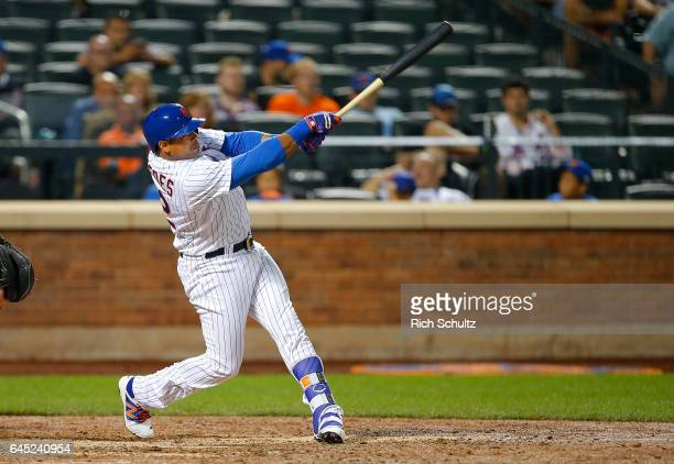 Yoenis Cespedes of the New York Mets in action against the Miami Marlins during a game at Citi Field on September 1 2016 in the Flushing neighborhood...