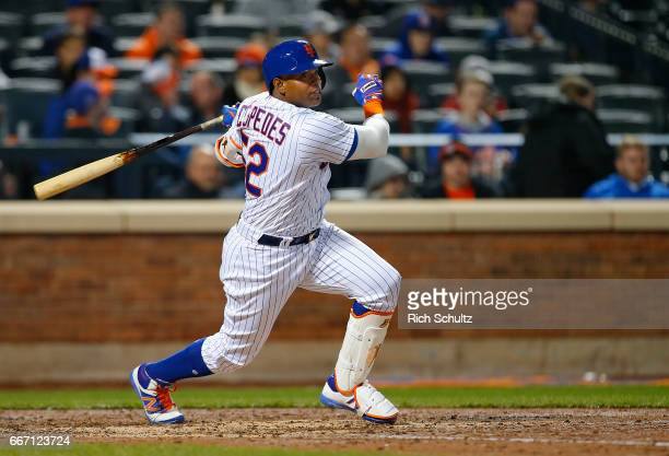 Yoenis Cespedes of the New York Mets in action against the Miami Marlins during a game at Citi Field on April 9 2017 in New York City