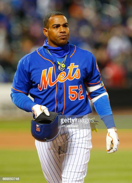Yoenis Cespedes of the New York Mets in action against the Miami Marlins at Citi Field on April 8 2017 in the Flushing neighborhood of the Queens...