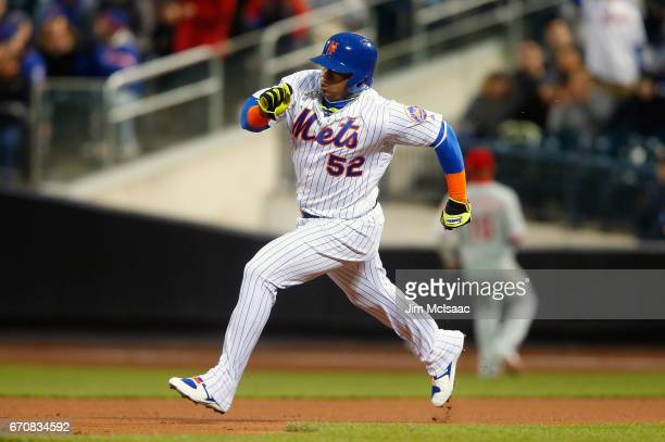 Yoenis Cespedes of the New York Mets in action against the Philadelphia Phillies at Citi Field on April 19 2017 in the Flushing neighborhood of the...