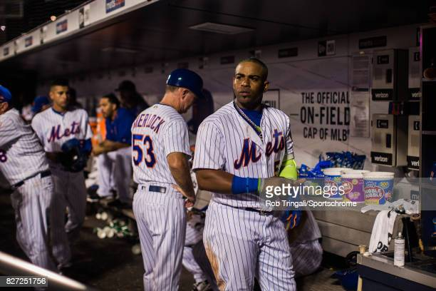Yoenis Cespedes of the New York Mets looks on during the game against the Oakland Athletics at Citi Field on July 21 2017 in the Queens borough of...