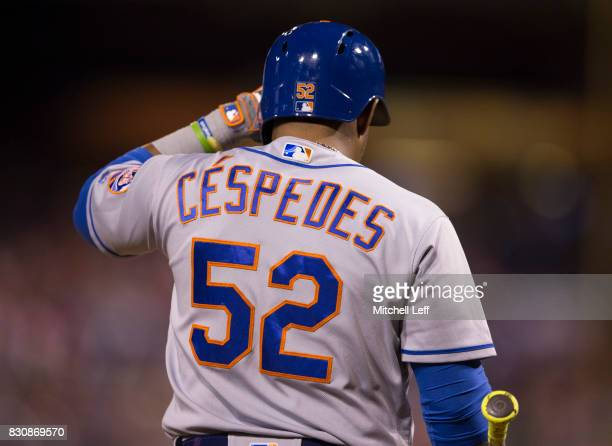 Yoenis Cespedes of the New York Mets plays against the Philadelphia Phillies at Citizens Bank Park on August 10 2017 in Philadelphia Pennsylvania The...