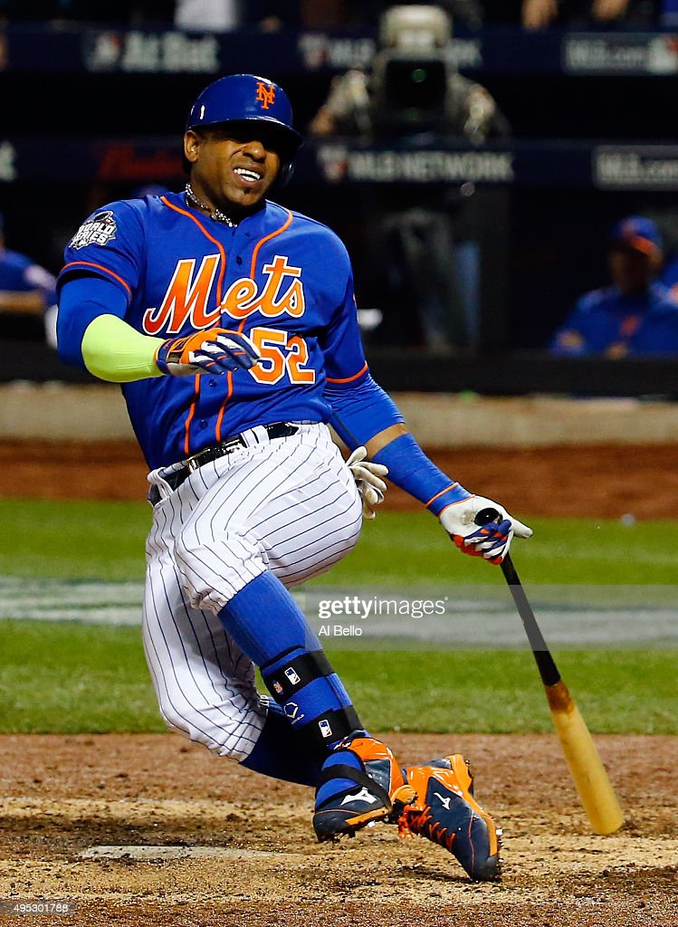 Yoenis Cespedes #52 of the New York Mets reacts as he fouls the ball off of his leg in the sixth inning against the Kansas City Royals during Game Five of the 2015 World Series at Citi Field on November 1, 2015 in the Flushing neighborhood of the Queens borough of New York City.
