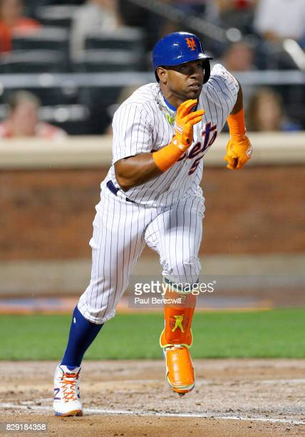 Yoenis Cespedes of the New York Mets runs to first base after batting in an MLB baseball game against the Los Angeles Dodgers on August 6 2017 at...