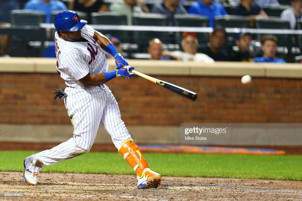 Yoenis Cespedes #52 of the New York Mets singles to center in the sixth inning against the Arizona Diamondbacks at Citi Field on August 21, 2017 in the Flushing neighborhood of the Queens borough of New York City.
