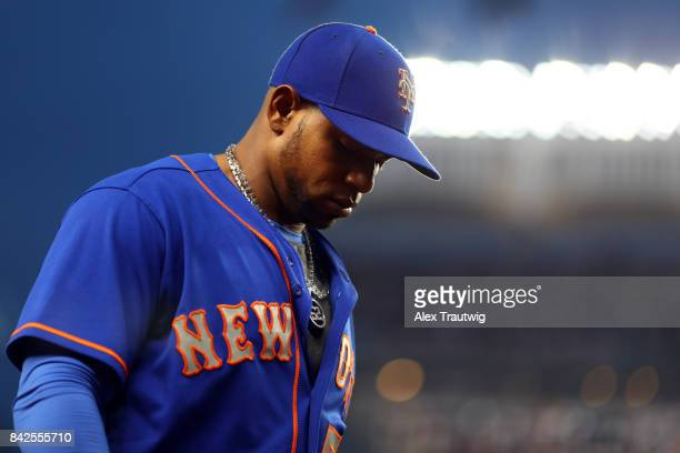 Yoenis Cespedes of the New York Mets walks back to the dugout during the game against the New York Yankees at Yankee Stadium on Monday August 14 2017...