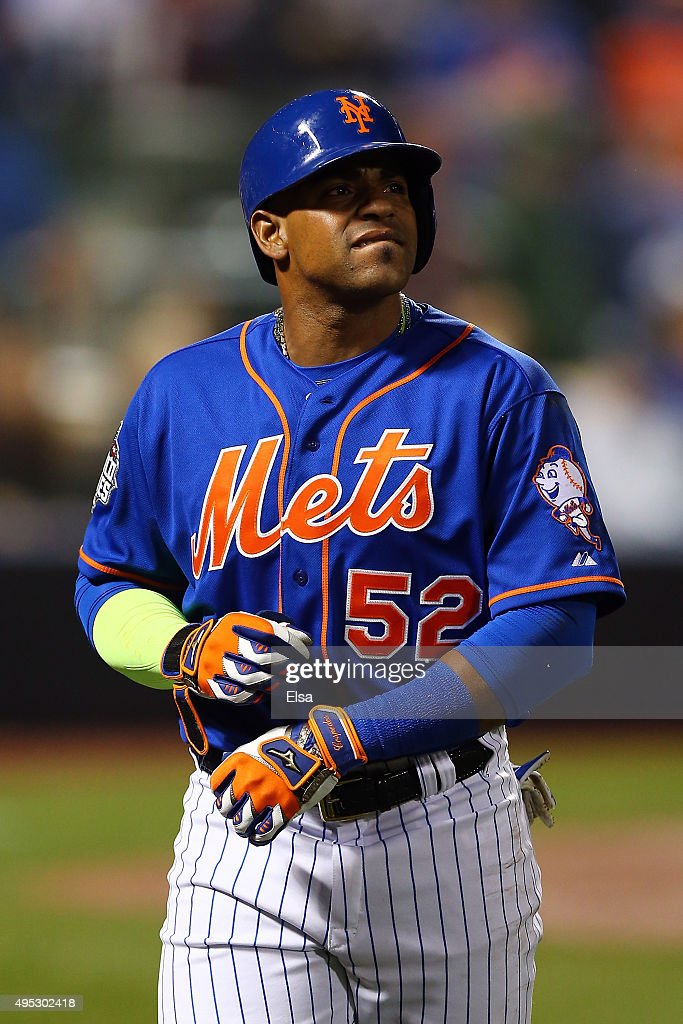 Yoenis Cespedes #52 of the New York Mets walks off the field after flying out in the sixth inning against the Kansas City Royals during Game Five of the 2015 World Series at Citi Field on November 1, 2015 in the Flushing neighborhood of the Queens borough of New York City.