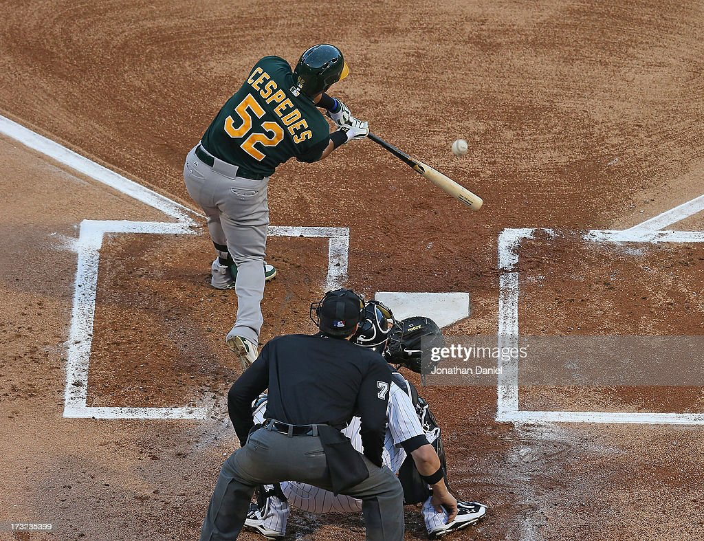 <a gi-track='captionPersonalityLinkClicked' href=/galleries/search?phrase=Yoenis+Cespedes&family=editorial&specificpeople=8892047 ng-click='$event.stopPropagation()'>Yoenis Cespedes</a> #52 of the Oakland Athletics bats against the Chicago White Sox at U.S. Cellular Field on June 7, 2013 in Chicago, Illinois. The Athletics defeated the White Sox 4-3.