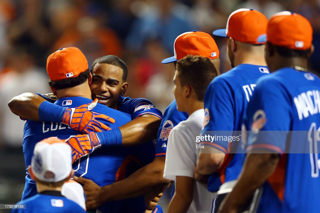 <a gi-track='captionPersonalityLinkClicked' href=/galleries/search?phrase=Yoenis+Cespedes&family=editorial&specificpeople=8892047 ng-click='$event.stopPropagation()'>Yoenis Cespedes</a> of the Oakland Athletics celebrates after winning the Chevrolet Home Run Derby on July 15, 2013 at Citi Field in the Flushing neighborhood of the Queens borough of New York City.