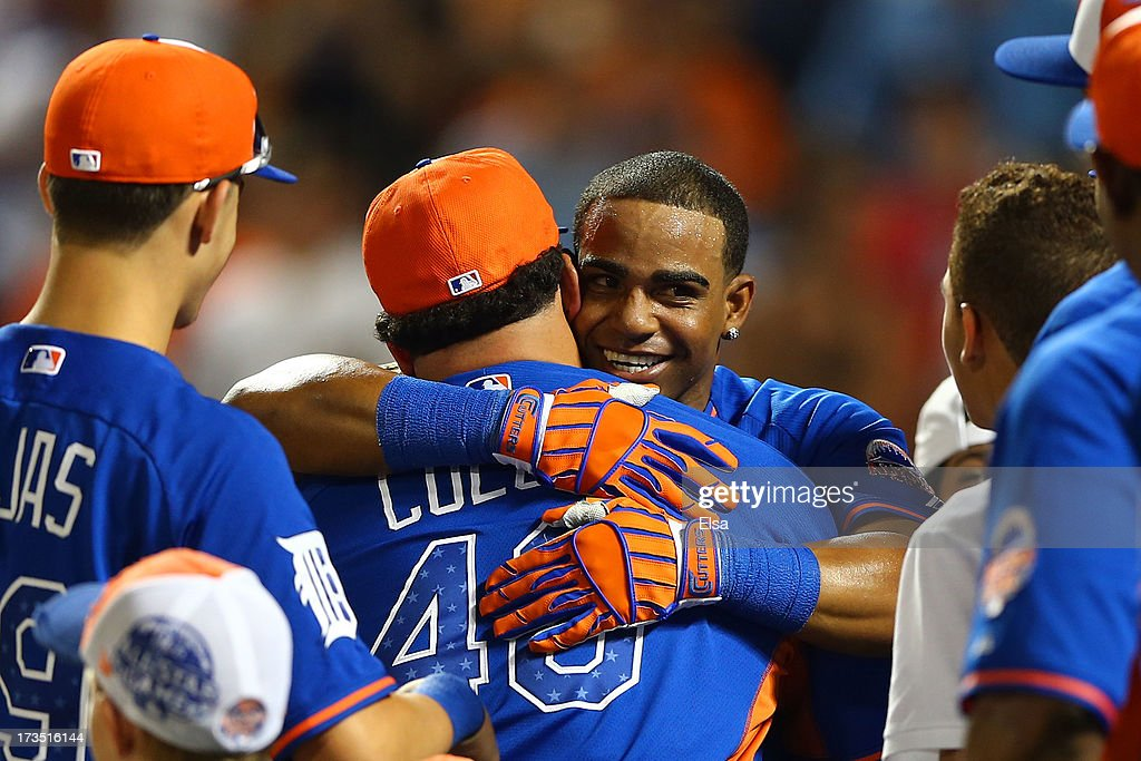 Yoenis Cespedes of the Oakland Athletics celebrates after winning the Chevrolet Home Run Derby on July 15, 2013 at Citi Field in the Flushing neighborhood of the Queens borough of New York City.