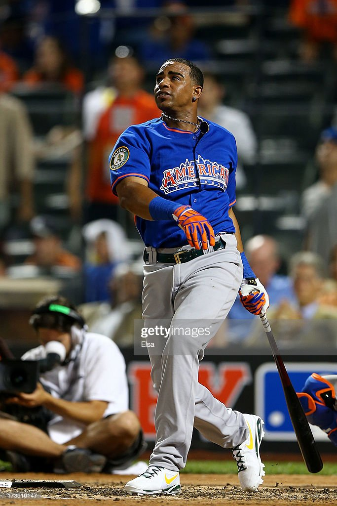 Yoenis Cespedes of the Oakland Athletics competes in the final round of the Chevrolet Home Run Derby on July 15, 2013 at Citi Field in the Flushing neighborhood of the Queens borough of New York City.