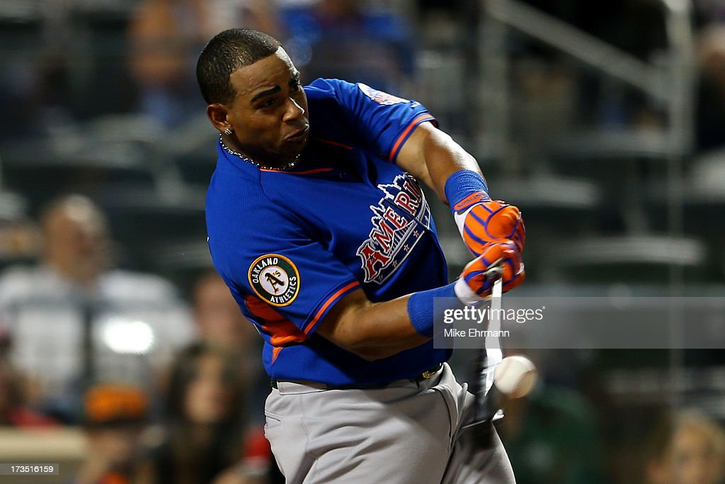 <a gi-track='captionPersonalityLinkClicked' href=/galleries/search?phrase=Yoenis+Cespedes&family=editorial&specificpeople=8892047 ng-click='$event.stopPropagation()'>Yoenis Cespedes</a> of the Oakland Athletics competes in the final round of the Chevrolet Home Run Derby on July 15, 2013 at Citi Field in the Flushing neighborhood of the Queens borough of New York City.