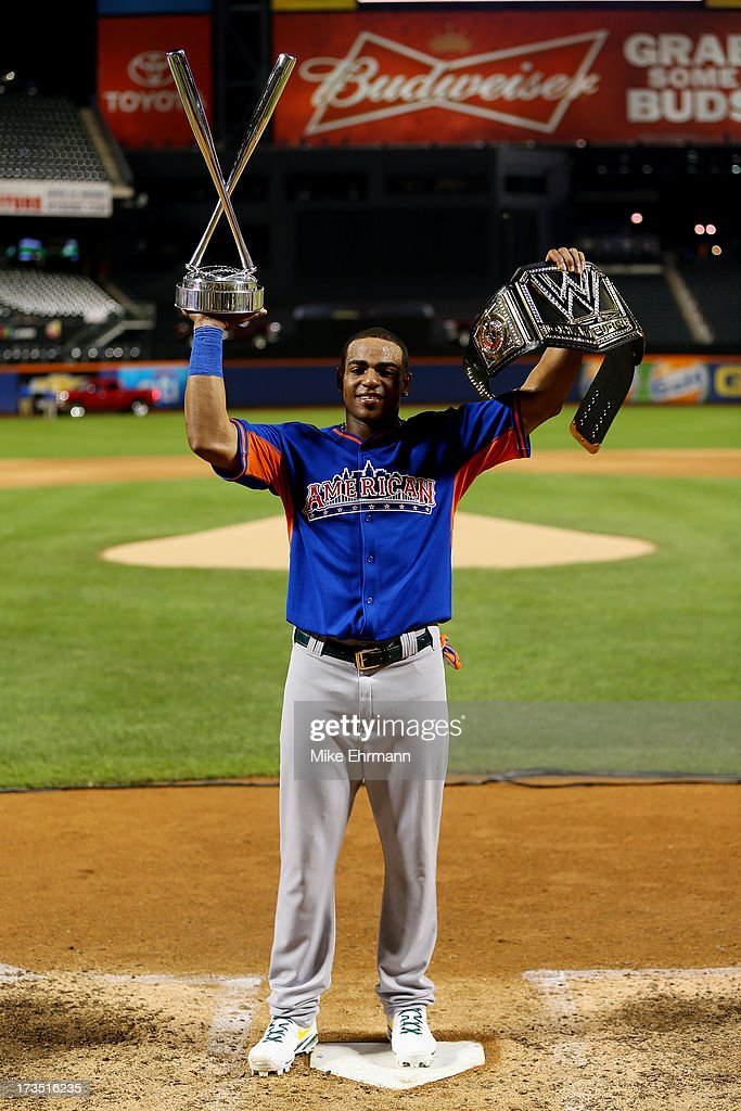 <a gi-track='captionPersonalityLinkClicked' href=/galleries/search?phrase=Yoenis+Cespedes&family=editorial&specificpeople=8892047 ng-click='$event.stopPropagation()'>Yoenis Cespedes</a> of the Oakland Athletics poses with the trophy after winning Chevrolet Home Run Derby on July 15, 2013 at Citi Field in the Flushing neighborhood of the Queens borough of New York City.