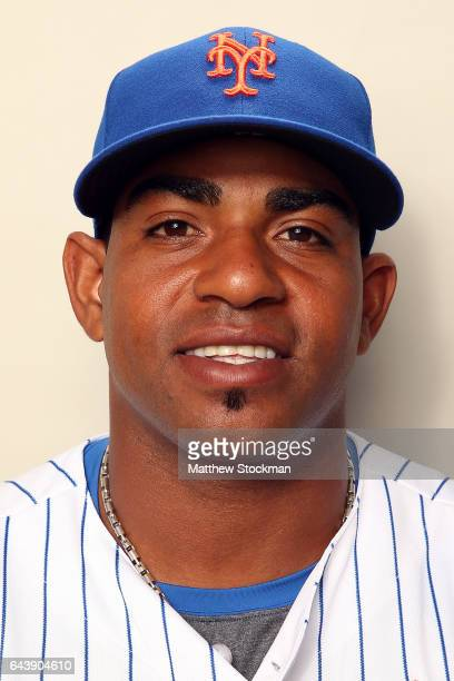 Yoenis Cespedes poses for a portrait during New York Mets Photo Day at Tradition Field on February 22 2017 in Port St Lucie Florida