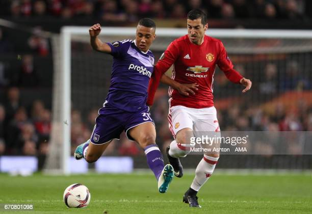 Yoeri Tielemans of Anderlecht competes with Henrikh Mkhitaryan of Manchester United during the UEFA Europa League quarter final second leg match...