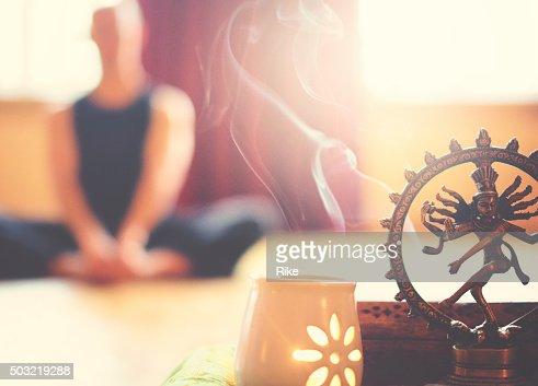 Yoga altar with light and meditation