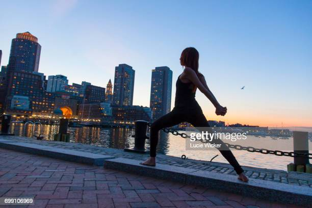 Yoga at sunset in the city