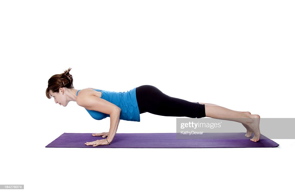 Yoga Chaturanga Dandasana Or Four Limbed Staff Pose Stock ...