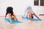 Adult man and woman practicing yoga, Svanasana / Downward dog pose