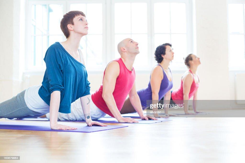 Yoga cobra position : Stock Photo