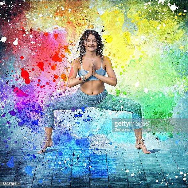 Yoga concept woman posing exercises colorful