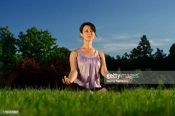 Yoga exercise (Sukhasana)