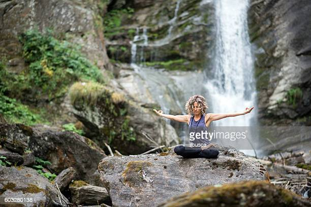 Yoga exercises in nature: Padmasana or lotus position
