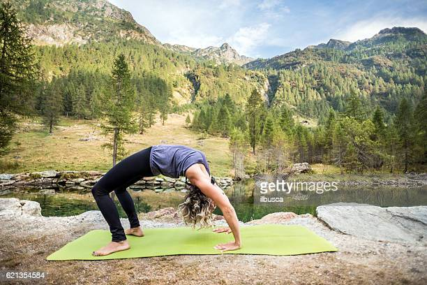 Yoga exercises in nature