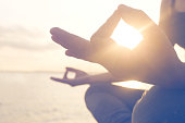 Yoga exercises seafront