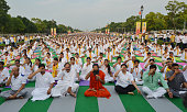 Yoga exponent Ramdev and Union Minister Venkaiah Naidu practice Yoga along with others during a yoga camp ahead of the International Yoga Day on June...