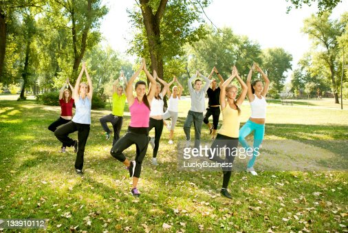 yoga group, tree position, : Stock Photo
