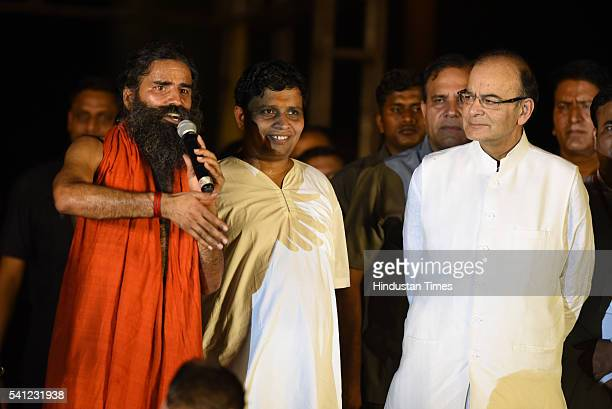 Yoga Guru Baba Ramdev and Finance Minister Arun Jaitley during the rehearsals for the upcoming International Yoga Day at Rajpath on June 19 2016 in...
