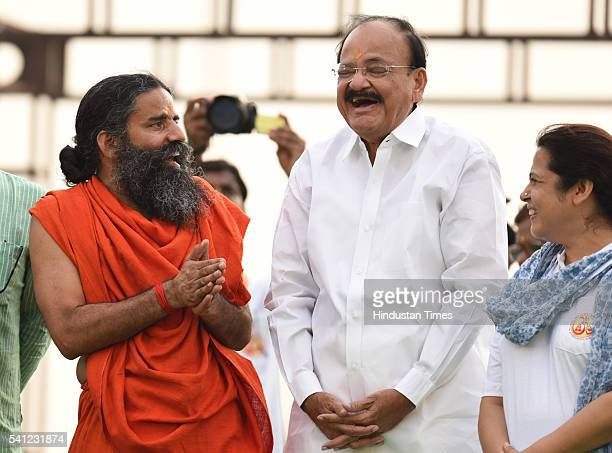 Yoga Guru Baba Ramdev and Union Minister Venkaiah Naidu during the rehearsals for the upcoming International Yoga Day at Rajpath on June 19 2016 in...