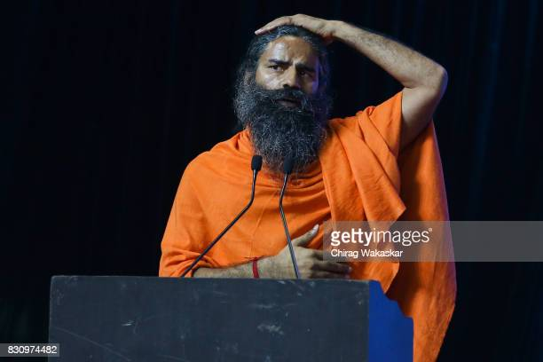 Yoga guru Baba Ramdev attends World Peace Harmony Conclave at NSCI Dome on August 13 2017 in Mumbai India