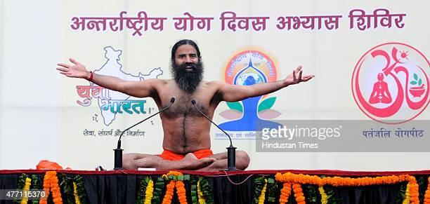 Yoga Guru Baba Ramdev during the Yoga training camp for the International Yoga Day organized by Baba Ramdev's Patanjali Yogpeeth under its plan for...