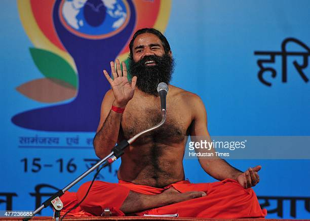 Yoga Guru Baba Ramdev during the Yoga training camp organized by Baba Ramdev's Patanjali Yogpeeth for the celebrations of International Yoga Day at...
