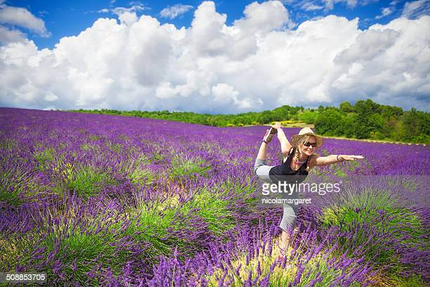 Yoga in a lavender field