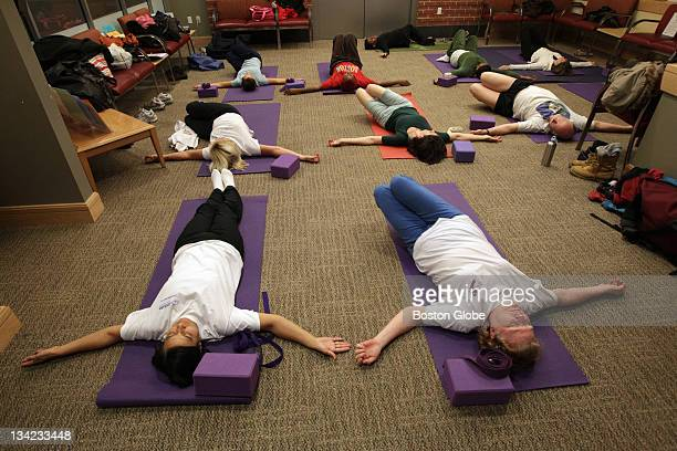 Yoga instructor Anna Dunwell teaches a class for people lower back pain on Nov 17 2011 at the Moakley Building which is part of the Boston Medical...