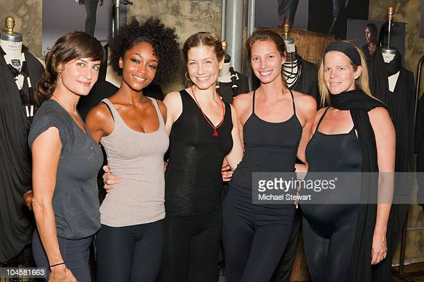 Yoga Instructor Elena Brower Yaya DaCosta Yoga Instructor Elizabeth Rossa Christy Turlington and Publicist Yvonne Force Villareal attend the Give...